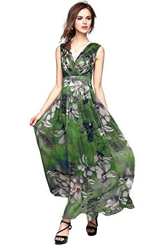 Joy EnvyLand Women V-neck Flower Prom Party Tunic Long Cocktail Beach Dress,Green,Medium Green Flower Dress