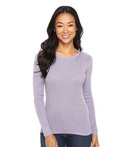 Pendleton Women's Petite Size Rib Jewel Neck Pullover Sweater, Lavender Grey, Medium