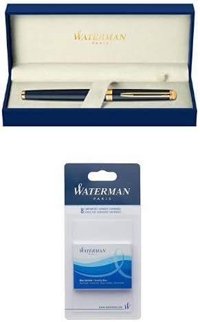 Pack Waterman - Pluma estilográfica Hemisphere en caja de regalo (punta mediana), color negro + Juego de cartuchos de tinta para pluma estilográfica (8 unidades, tamaño estándar, tinta azul): Amazon.es: Oficina y papelería