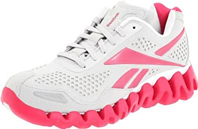 Reebok Women's Zig Flow Running Shoe,Suede/Steel/Pink/White,8.5 M US