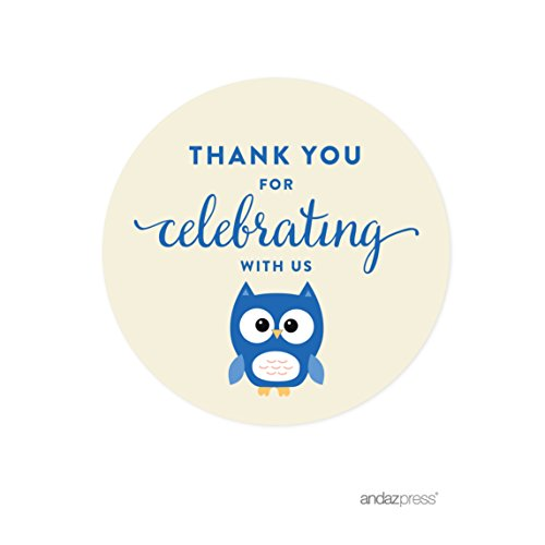 Andaz Press Boy Owl Baby Shower Collection, Round Circle Label Stickers, Thank You for Celebrating with Us!, 40-Pack