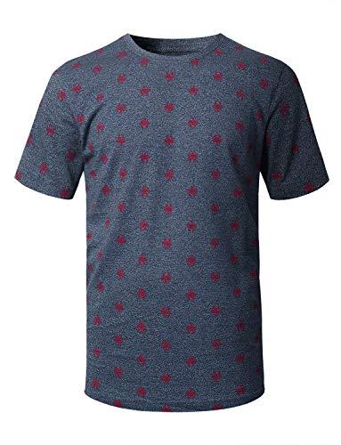URBANCREWS Mens Hipster Hip Hop Lobster Pattern Short Sleeve T-Shirt Navy, S