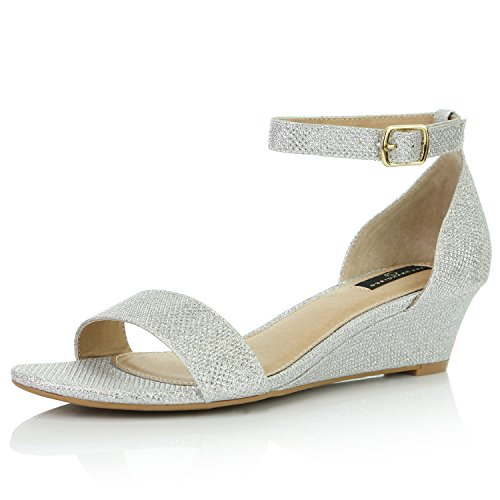 DailyShoes Women's Wedge Open Toe Strap Chunky Heel Sandal Fashion Shoes, Silver Glitter, 6.5 B(M) ()