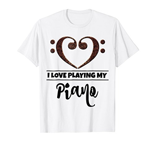 Double Bass Clef Heart I Love Playing My Piano T-Shirt