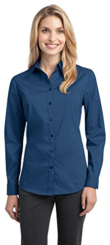 Port Authority Ladies Stretch Poplin Shirt  Moonlight Blue  Xx Large