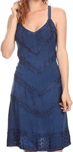 Sakkas 161114 - Rhyder Mid Strapless Spaghetti Strap Adjustable Embroidered Batik Dress - Navy - S/M