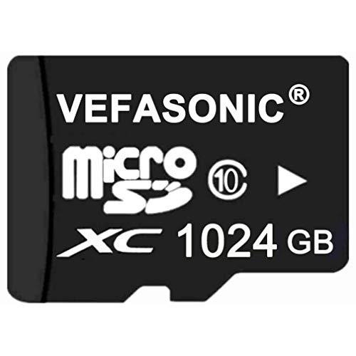 Vefasonic 1024GB 1TB Micro SDHC SD TF Memory Card High Speed Class 10 with Micro SD Adapter and Card Reader Black 1024G 1T