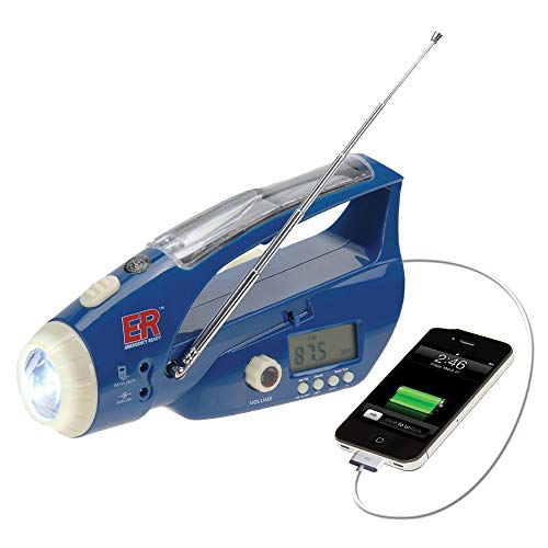 ER Emergency Ready 6NWB Solar/Hand-Crank Powered LED Flashlight with Digital Weather Band Radio and USB Charging Port