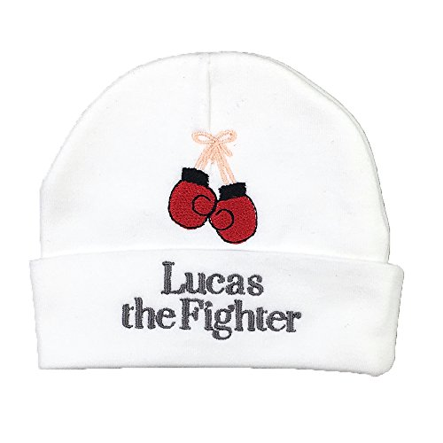 Personalized Baby hat with Boxing Gloves, Baby Fighter hat, Preemie Fighter hat, Custom, NICU Gift, Preemie Baby hat (Micro Preemie) White