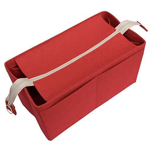 - [Fits Neverfull MM/Speedy 30, Red] Felt Organizer (with Top Zipper), Bag in Bag, Wool Purse Insert, Customized Tote Organize, Cosmetic Makeup Diaper Handbag