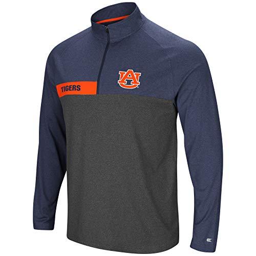 Colosseum Men's NCAA-No Mercy-1/4 Zip Pullover Windshirt-Auburn Tigers-Heather Blue-XXL