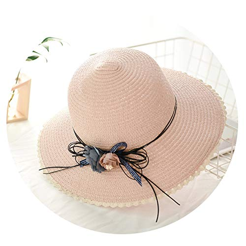 Summer Lace Flower Women Sun Hats Fashion Straw Bucket Cap Female Travel Beach Hat,Light Pink,56-58cm ()