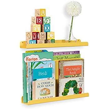 Wallniture Sedona Wall Mounted Floating Shelves for Nursery Decor Kid's Room Bookshelf Display Picture Ledge Yellow Set of 2