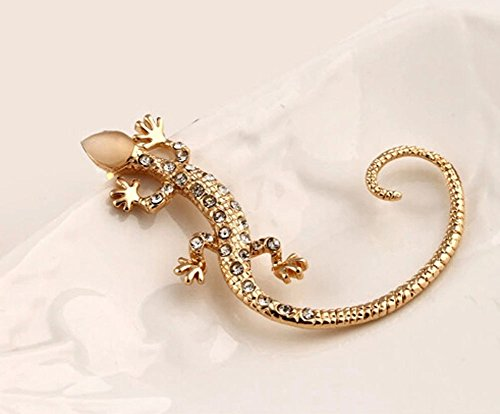 ACEFAST Jewelry Fashion Punk Rock 16k Gold Plated Animal Lizard Ear Cuff Ears Wraps Stud Earrings(Golden)