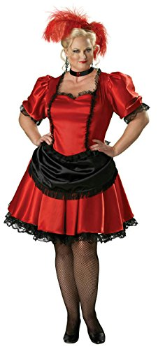 [InCharacter Premier Red Black Saloon Gal Western Plus Size Adult Costume Size 2X] (Saloon Gal Costumes)