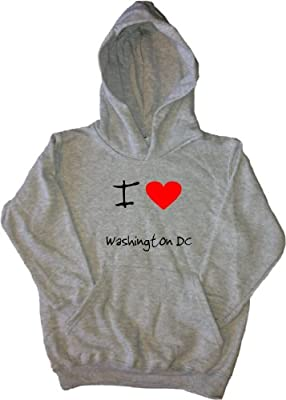 I Love Heart Washington DC Grey Kids Hoodie