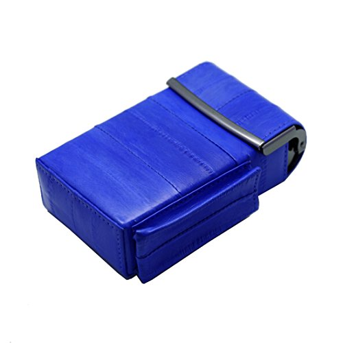 - Automatic Rising Genuine Eel Skin Leather Sliding Cigarette Case with Lighter Holder (Blue)