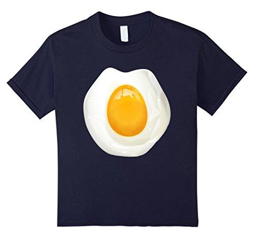 Fried Egg Costumes (Kids Sunny Side Up Fried Egg Costume T-Shirt Funny Egg Yolk Shirt 12 Navy)