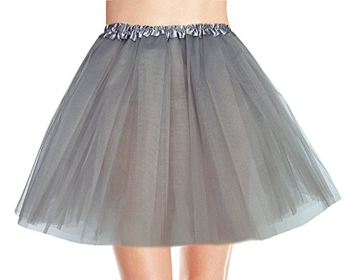 Women's, Teen, Adult Classic Elastic 3, 4, 5 Layered Tulle Tutu Skirt (One Size, Gray 3Layer)