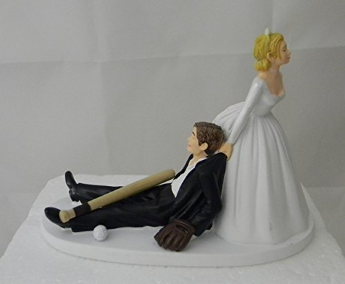Wedding Party Reception Ball Glove and Bat Baseball Player Cake Topper