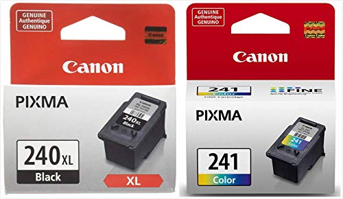 Genuine Canon PG-240XL High Capacity Black Ink Cartridge (5206B001) + CL-241 Color Ink Cartridge (5209B001) Black Apple Printer Cartridge