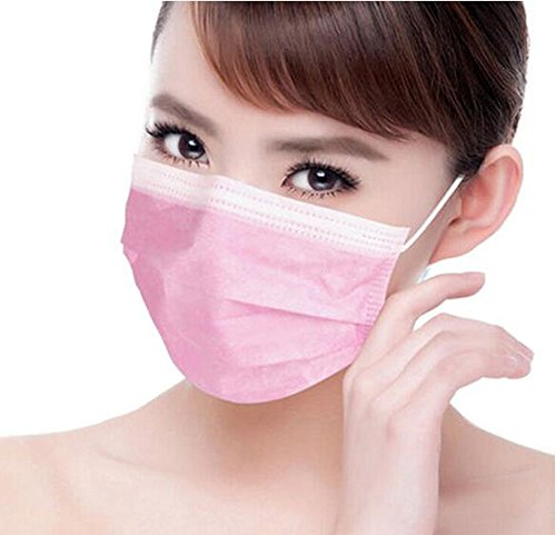 50pcs Disposable Earloop Dust Protective Face Mask Surgical Dust Filter Mouth Cover Beauty Nail Salon Face Mask (Pink)