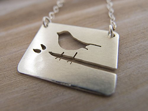 Sterling Silver Bird Necklace, Bird on Branch Charm Necklace, Bird Lover Jewelry