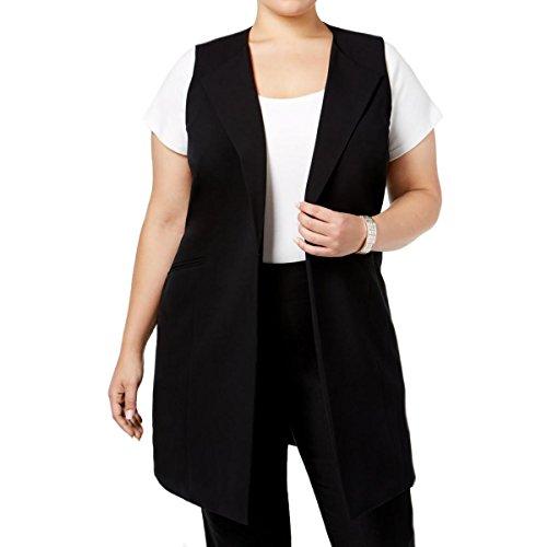 Nine West Womens Plus Modern Muse Solid Sleeveless Suit Vest Black 18W