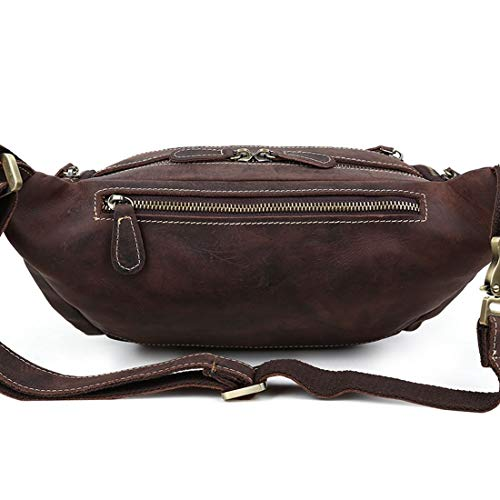 Brown Fanny Que Cadera Genuino Bolso Excursión Brown Va color Del Cuero Houyazhan De Cintura El Paquete Marrón Dark Vago Crossbody La Monedero 4vwK0Fqa1