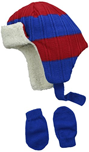 Price comparison product image Aquarius Baby-Boys Infant Knit Stripe Sherpa Trapper with Magic Glove,  Navy / Red,  One Size