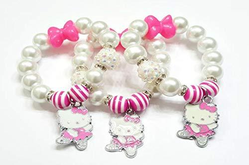 (Pink Kitty, Ballerina Bracelet, Girls Bracelets, Ballerina Bracelets, Pink Bracelets,Bow, Stretchy, Handmade, Custom Beaded Jewelry)