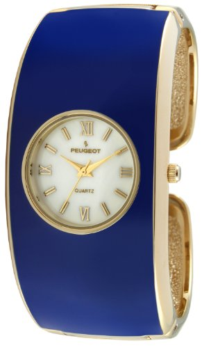 Peugeot Women's 14K Gold Plated Blue Enamel Cuff Bangle Dress Jewelry Watch 7085BL