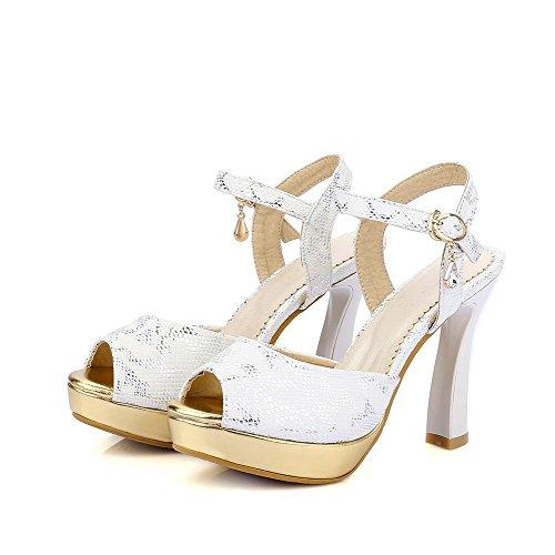 Amoonyfashion Para Mujer Suave Material Hebilla Peep Toe Tacones Altos Color Surtido Sandalias De Tacón Blanco
