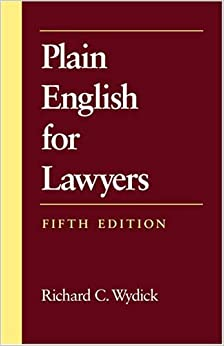 Book Plain English for Lawyers 5th by Richard C. Wydick (2005)