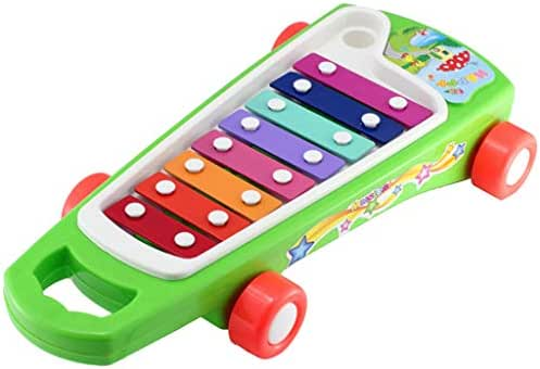 Xylophone Baby Toy Plastic Percussion Musical Instruments Toys Cartoon Car Shape Rainbow 8-Note Xylophone with Mallet Rhythm Perception Montessori Educational Learning Toys for Children Kids