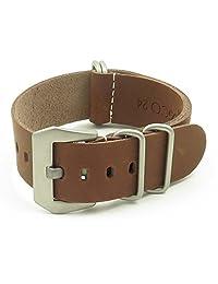 StrapsCo 18mm Brown Leather G10 Nato Zulu Watch Strap with Pre-V Buckle