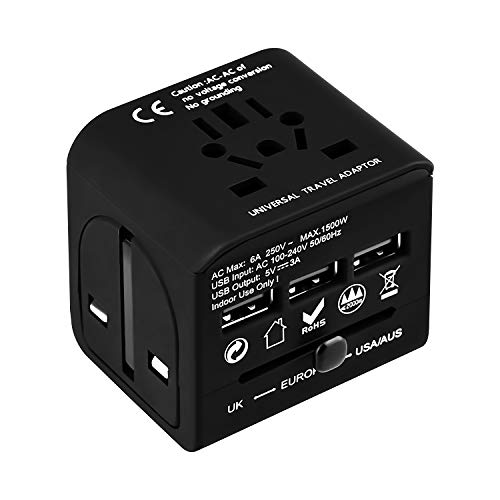 Universal Travel Adapter,Shierak International Power Adapter with 3 Fast Charging 3A USB Ports,AC Sockets Wall Charger Outlet,Safety Shutter,Built in Fuse Protection for US EU UK AUS Smartphone(Black)