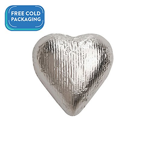 Silver Candy Milk Chocolate Hearts 2lb (Free Cold Packaging) ()