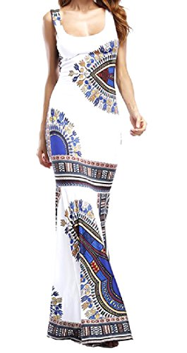 Casuale Sottile Smoking Africano donne Stile Coolred Abito Maxi Lungo Bianco WqZRCnwT