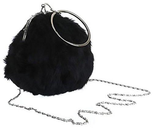 MYWY - Borsa da polso piccola donna simil pelliccia con catenella e L cm17 H cm16 L cm11-nero-Taglia unica