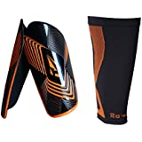 Soccer Shin guards with Extreme Armour Pu Foam Protection, with Compression Sleeve ,Men and Women Fit Height Range 5'9'' ~ 6'5''