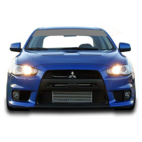 Bubbles Designs Windshield Banner Sun Visor Strip Decal Sticker Vinyl Compatible with Mitsubishi EVO X 2007-2016 (Silver)]()