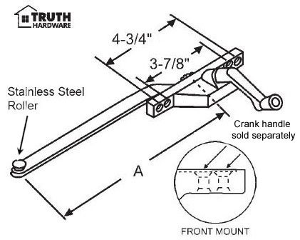 Casement Window Operator, Right Hand, Front Mount, Stainless Steel Roller, Aluminum, 11'' Long Arm