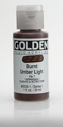 Golden Fluid Acrylic Paint 1 Ounce-Burnt Umber Light