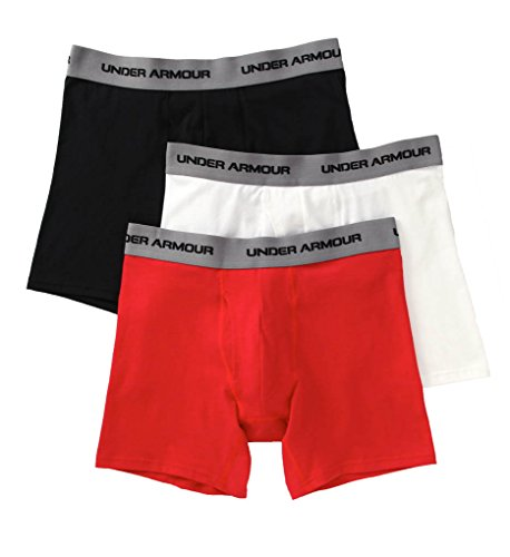 Under Armour Charged Cotton Stretch 6 Inch Boxerjock 3 Pack - Men's White / Red / Black XL