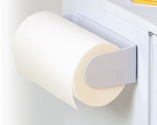 White Magnetic Paper Towel Holder - Mounts Securely on Refrigerators & Other Metal Surfaces - Strong Hard Plastic Construction (Refrigerator Magnetic Holder compare prices)