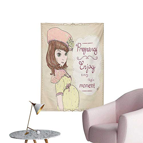 zhaoxuefa Quotes Photographic Wallpaper Pregnancy Enjoy Every Single Moment Clipart Pregnant Woman Dress HatEggshell Pink Multicolor W24 xL32 Wall Poster