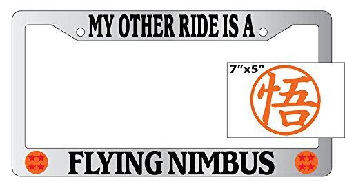Dragonball Z My Other Ride Is A Flying Nimbus #2 Chrome Plastic License Plate Frame With Vinyl Orange