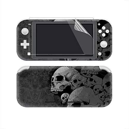 eXtremeRate Full Set Faceplate Skin Decals Stickers and 2 Pcs Screen Protector for Nintendo Switch Lite/NSL Console - Gray Skull