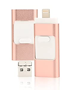 128GB iPhone USB Flash Drive, iOS Memory Stick, iPad External Storage Expansion for iOS Android PC Laptops (Rose Gold)